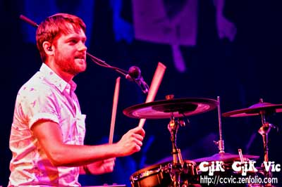 Photo of Joel Stouffer, on Drums with Dragonette performing at the CNE Bandshell. Photo credit Vincent Banial