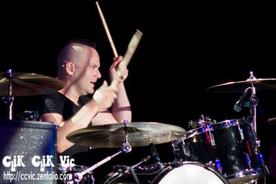 Photo of Chuck D Keeping on Drums with Big Wreck. Photo credit ccvic.zenfolio.com