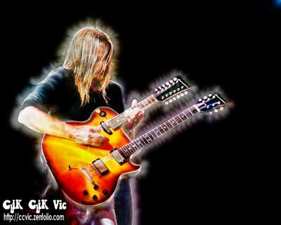 Photo of Brian Doherty on Double Neck Guitar with Big Wreck. Photo credit ccvic.zenfolio.com