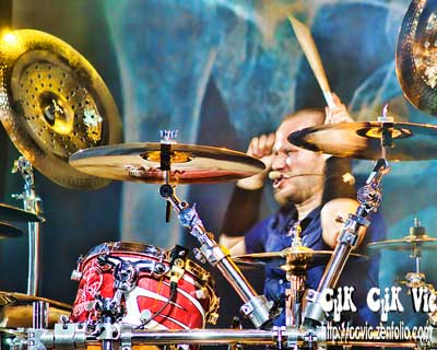 Photo of Joey Dandeneau on Drums with Theory of a Deadman performing at the CNE Bandshell. Photo credit ccvic.zenfolio.com