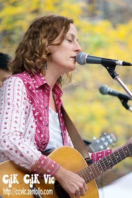 Photo of Sarah Harmer performing at the Rock the Line concert. Photo credit Vincent Banial