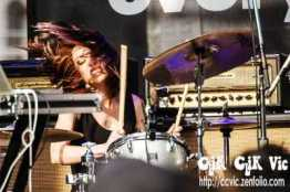 Photo of Jessica Goodwin, one of Big Black Delta's two Drummers, performing at NXNE 2013. Photo credit Vincent Banial