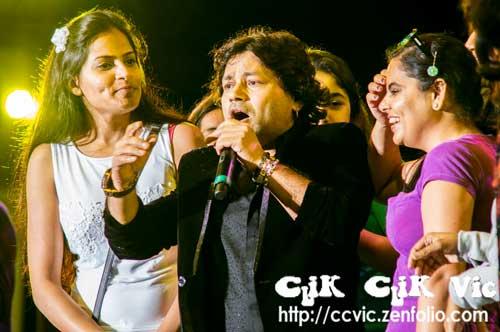 """Photo of the Kailash Kher and his band """"Kailasa"""" performing at the CNE Bandsell on Aug 17 2014. Photo Credits CLiK CLiK Vic"""
