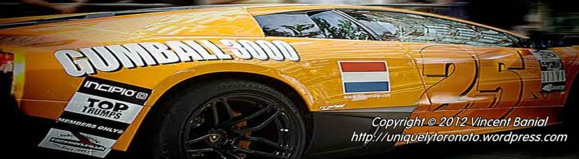 Photo of 2012 Gumball 3000 in Toronto. Photo Credit Vincent Banial @ uniquelytoronto.com