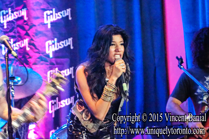 "Photo of ""Priya Panda"" the Lead Singer with Diemonds performing at the eOne Music Canada & Gibson party on May 09 2015. Photo credit Vincent Bania"