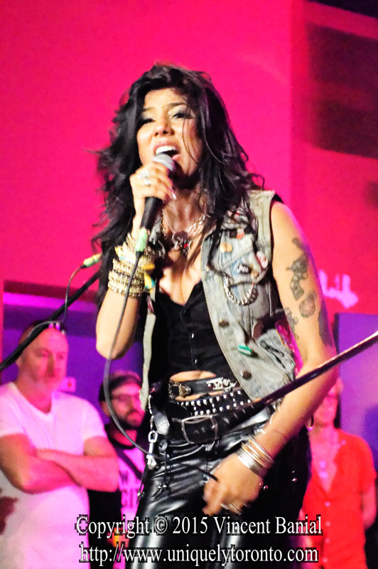 """Photo of """"Priya Panda"""" the Lead Singer with Diemonds performing at the eOne Music Canada & Gibson party on May 09 2015. Photo credit Vincent Bania"""