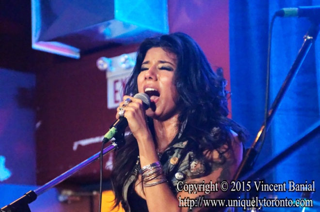 "Photo of ""Priya Panda"" the Lead Singer of the Diemonds performing at the eOne Music Canada & Gibson party on May 09 2015. Photo credit Vincent Bania"