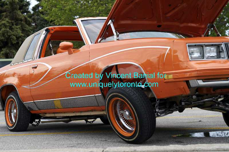 Photo of jacked up car at the Woodbridge Cruise night May 18 2015. Photo credit Vincent Banial
