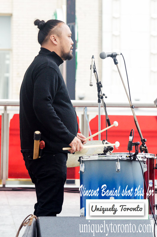Photo of DATU performing at Yonge Dundas Square in Toronto. Photo credit Vincent Banial