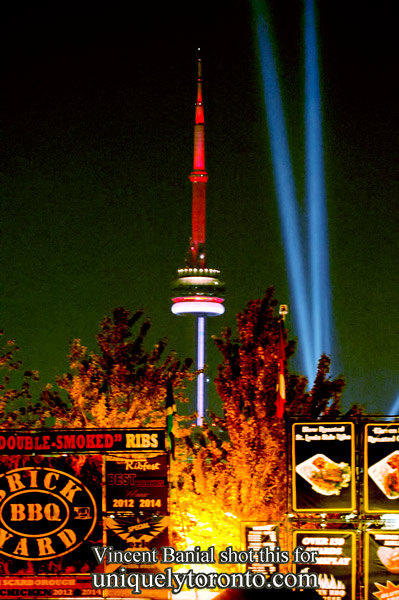 Photo of the CN Tower from the CNE Banshell. Photo credit Vincent Banial