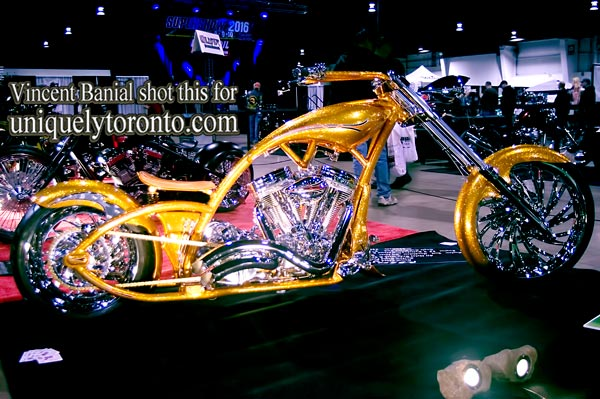 Photo of a Customer Chopper by Speed Trix at the 2016 North American International Motorcycle Supershow in Toronto. Photo credit Vincent Banial