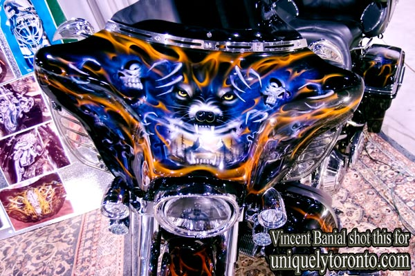 "Photo of the ""Wizard Custom Paint"" display at the North American International Motorcycle Supershow in Toronto. Photo creditt Vincent Banial"