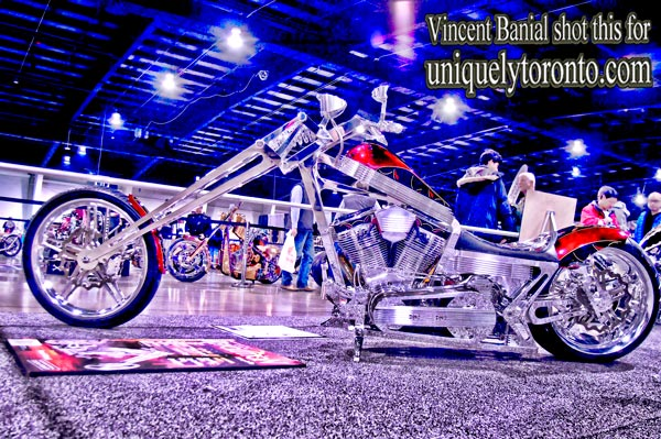 Photo of a custom motorcycle at the North American International Motorcycle Supershow in Toronto. Photo credit Vincent Banial