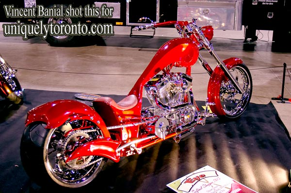 "Photo of Speed Trix Custom Motorcycle called ""Eye Cherry"", on display at the North American International Motorcycle Supershow in Toronto. Photo credit Vincent Banial"