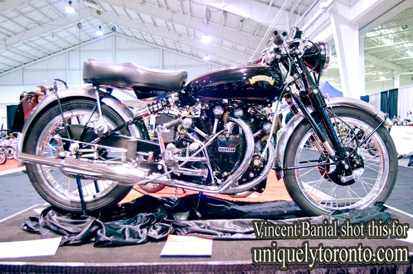 Photo of a 1953 Vincent Shadow classic motorcycle displayed at the North American International Motorcycle Supershow. Photo credit Vincent Banial
