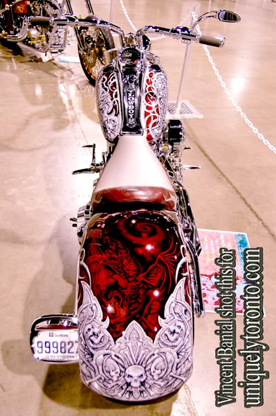 Photo of Air Brush Art on Custom Chopper displayed at the North American International Motorcycle Supershow. Photo credit Vincent Banial