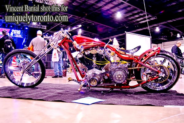 Photo of a Custom Chopper displayed at the North American International Motorcycle Supershow. Photo Credit Vincent Banial