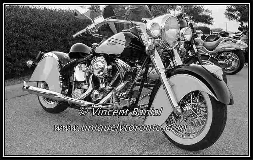 Photo of a classic Indian Motorcycle in Woodbridge Ontario. Photo Credict Vincent Banial